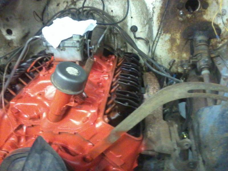 Left side of motor painted