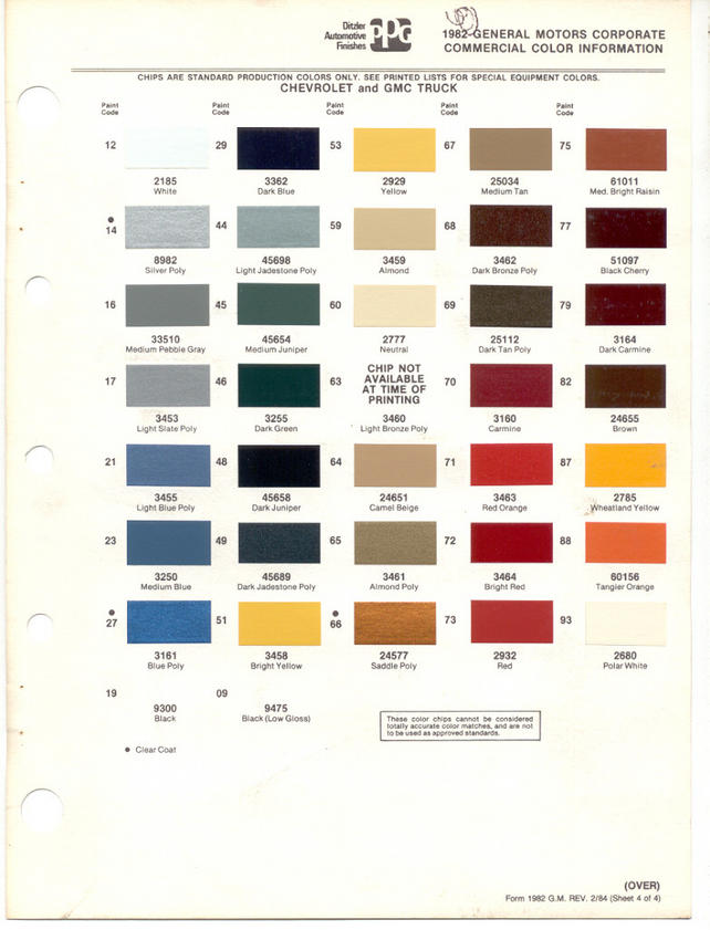 Gm Paint Codes >> What Paint Codes Are These The 1947 Present Chevrolet