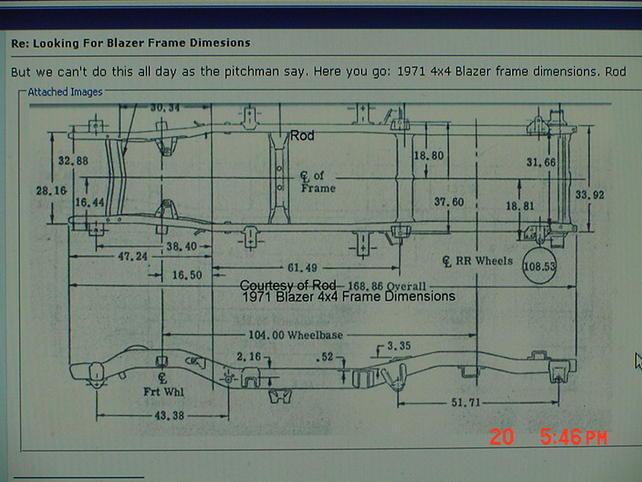 S10 Blazer Frame Dimensions