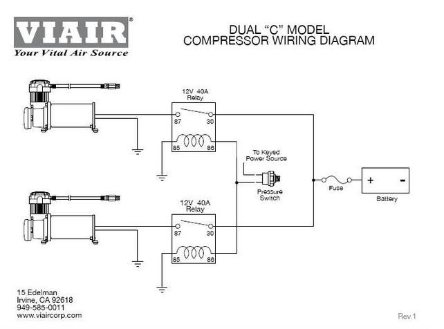 Wiring for Dual Compressors with Single Circuit Breaker ... on pilot relay wiring diagram, 5 pin relay wiring diagram, msd relay wiring diagram, superwinch relay wiring diagram, ford relay wiring diagram, bosch relay wiring diagram, compressor relay wiring diagram, hella relay wiring diagram,
