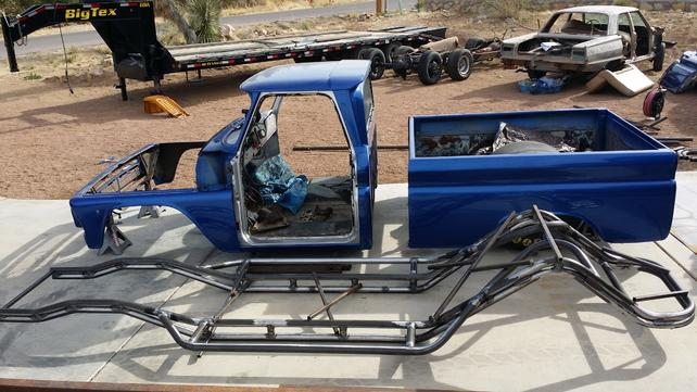 64 Bagged and Blown 588 BBC C10 4130 Tube Chassis SEMA Drag Truck
