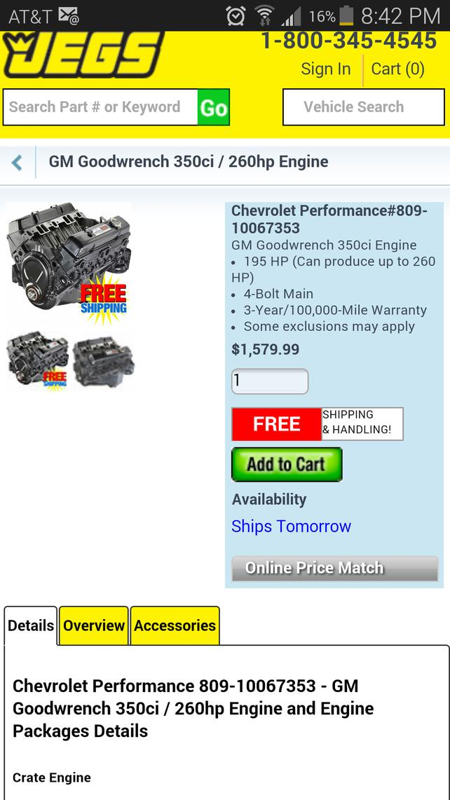 350 Crate on sale at Jegs $1579 99 - The 1947 - Present Chevrolet