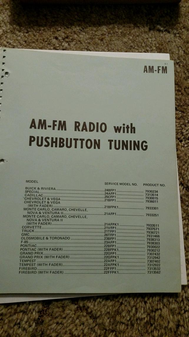 NY am-fm radio parts/schematics/numbers loose booklet - The 1947