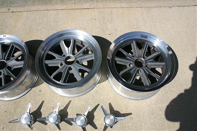 Set of 4 17x8 Edelbrock 454 wheels (Cobra style) 5 ON 5 BP