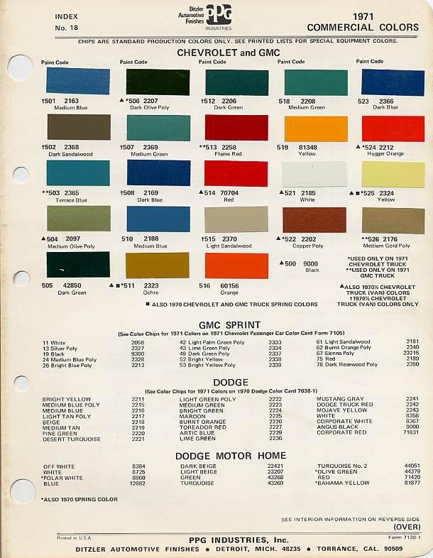 1970 chevrolet truck colors
