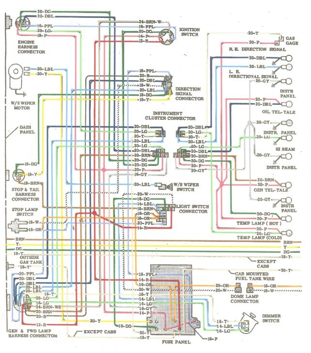 1964 colored wiring diagram - the 1947 - present chevrolet & gmc,Wiring diagram,Wiring Diagram For A 1964 Chevy C 10