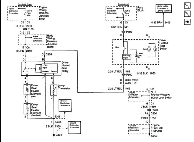 wiring diagram for power seats and heaters - the 1947 - present, Wiring diagram