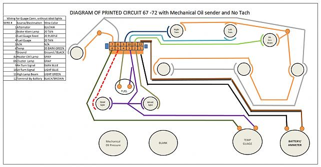 wiring diagram of instrument cluster - the 1947 - present, Wiring diagram