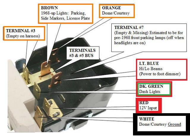 headlight switch wiring diagram the 1947 present. Black Bedroom Furniture Sets. Home Design Ideas