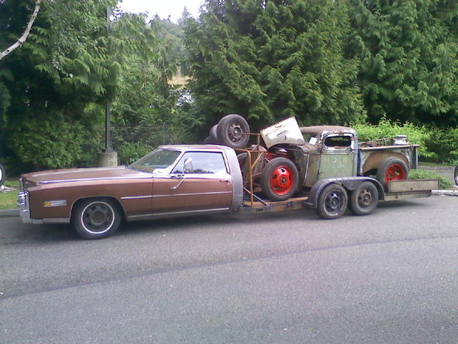 Half Truck Half Tractor Trailer Pick Up : Front half of a truck welded to car trailer pic anybody