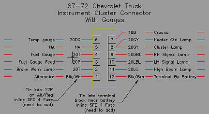 67-72 non gauge dash bezel plug wiring diagram - the 1947 - present  chevrolet & gmc truck message board network  67-72 chevy trucks