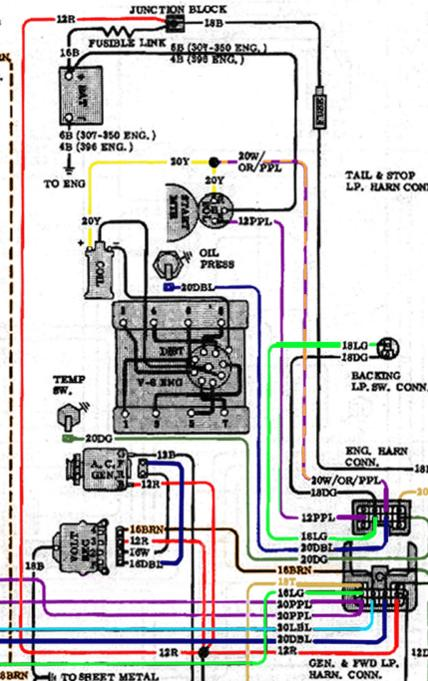 1970 chevy truck straight 6 wiring harness  center wiring